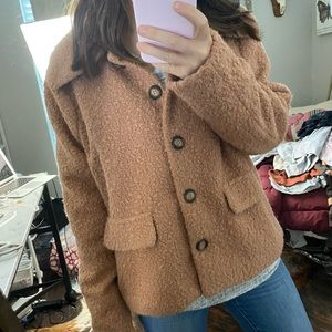 strut and bolt rust fuzzy teddy coat large